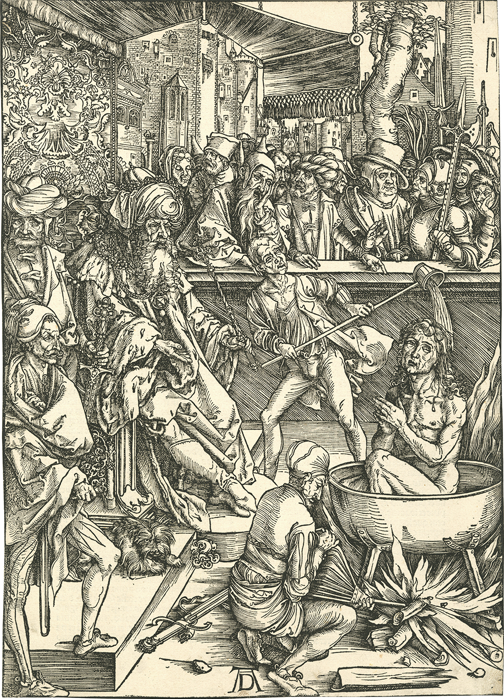 Albrecht Dürer, The Torture of St. John the Evangelist from The Apocalypse,  The Latin Text Edition of 1498