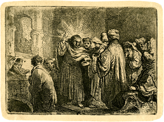 Rembrandt Etching, The Tribute Money, c. 1635