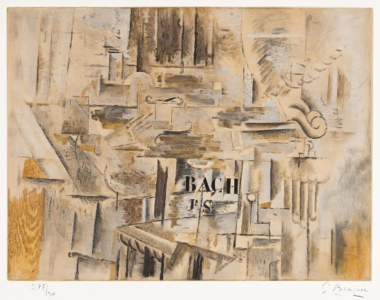 Georges Braque Etching, Hommage & J. S. Bach, 1950