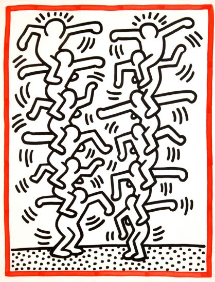 Keith Haring Lithograph, Three Lithographs (Plate 3), from the Three Lithographs Portfolio, 1985