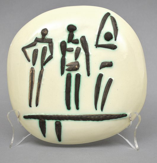 Pablo Picasso Ceramic, Trois Personnages sur Tremplin (Three Figures on a Trampoline), 1956