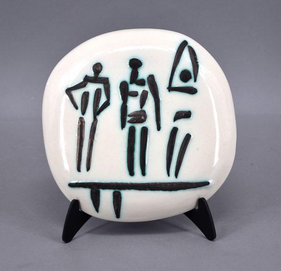 Pablo Picasso Ceramic, Trois Personnages sur Tremplin (Three Figures on a Trampoline), 1956 A.R. 375