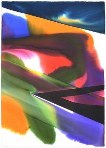 Paul Jenkins Watercolor, Untitled, 1985
