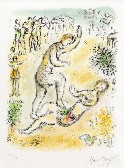 Marc Chagall Lithograph, Combat Between Ulysses and Irus from Odyssey II, 1975