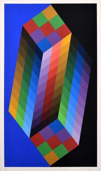 Victor Vasarely Serigraph, Torony III, 1988