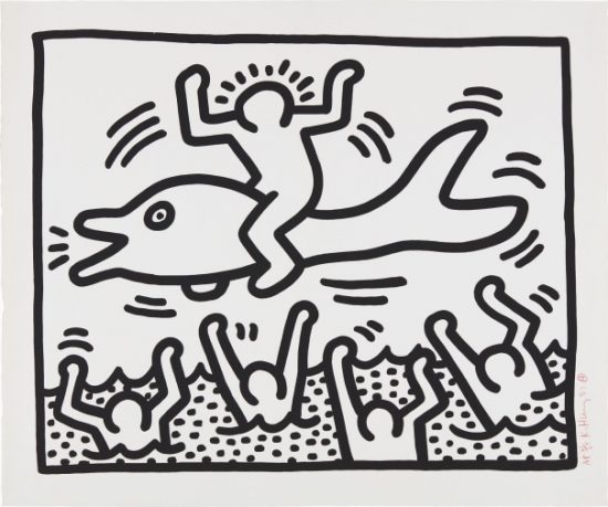 Keith Haring Lithograph, Untitled (Man on Dolphin), 1987