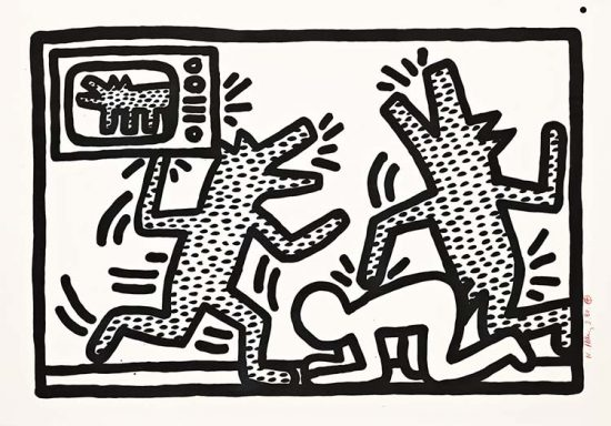 Keith Haring Lithograph, Untitled (Plate 3), 1982