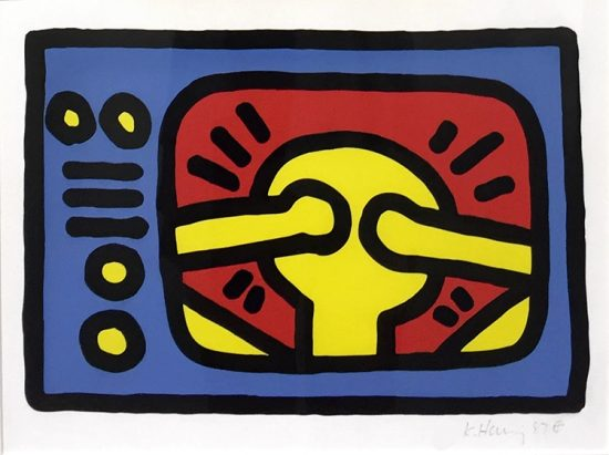 Keith Haring Lithograph, Untitled (Plate 3), 1987