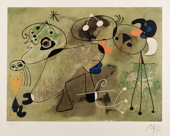 Joan Miró Lithograph, Untitled Woman and Dog from the series of paintings known as 'Slow Paintings'