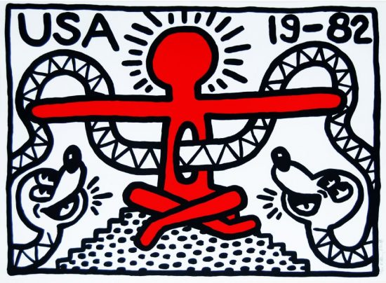Keith Haring Lithograph, USA 19-82, 1982