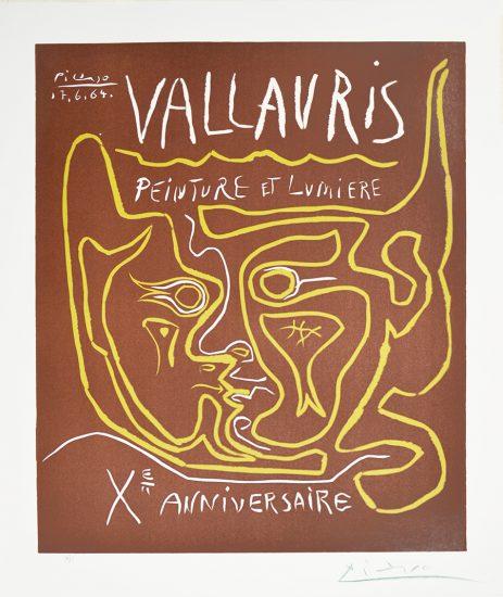 Pablo Picasso Linocut, Vaullauris Painting and Light, Tenth Anniversary (Vallauris Peinture et Lumière, Xᵉ Anniversaire), 1964