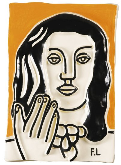 Fernand Léger Ceramic, Visage á une main sur fond ocre (Face with One Hand on Ocher Background), c. 1990