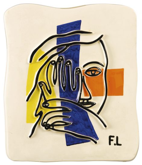 Fernand Léger Ceramic, Visage aux deux mains (Face with Two Hands), 1954