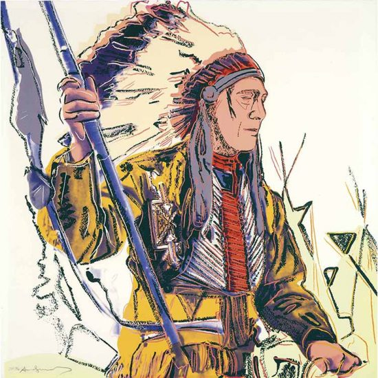 Andy Warhol Screen Print, War Bonnet Indian, from the Cowboys and Indians Series, 1986