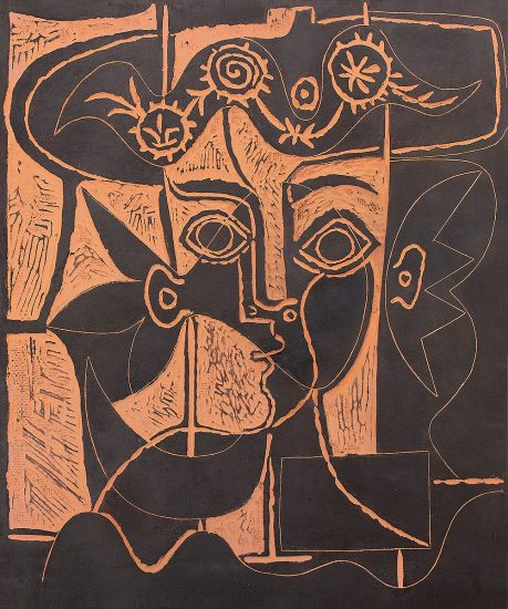 Pablo Picasso Lithograph, Grande Tête De Femme Au Chapeau Orné (Woman's Big Head with Decked Hat), 1964 A.R. 518