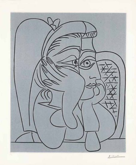 Pablo Picasso Linocut, Woman Leaning on Her Elbows, 1959, Bloch 922