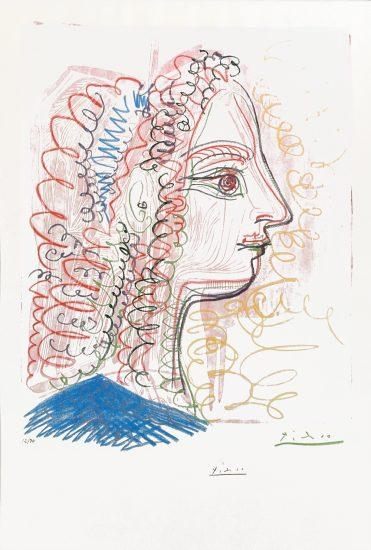 Pablo Picasso Lithograph, Woman Profile, 1971