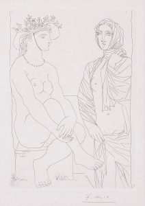 Pablo Picasso Etching, Femme assise au Chapeau et Femme debout drapée (Woman sitting in hat and woman standing draped) from the Vollard Suite, 1934