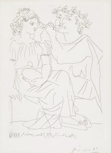 Pablo Picasso Etching, Flûtiste et Jeune Fille au Tambourin (Flutist and Tambourine girl) from the Vollard Suite, 1934