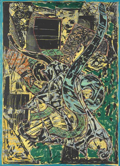 Frank Stella Lithograph, Yellow Journal, 1982