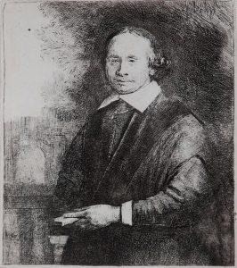 Rembrandt Etching, Jan Antonides van der Linden, Professor of Medicine, c. 1665