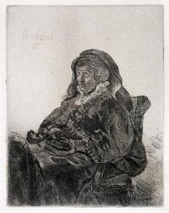 Rembrandt Etching, Rembrandt's Mother in Widow's Dress and Black Gloves, 1632