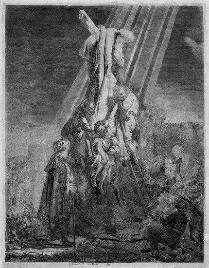 Rembrandt Etching, The Descent from the Cross: Second Plate, 1633