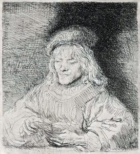 Rembrandt Etching, The Card Player, c. 1641