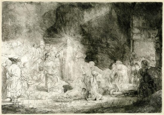 Rembrandt Drypoint, The Hundred Guilder Print (Christ Healing the Sick), c. 1649