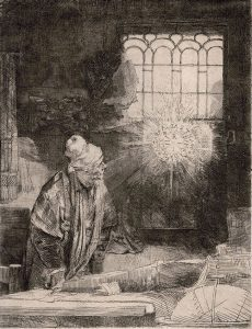 Rembrandt Etching, Faust, c. 1652