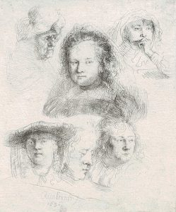 Rembrandt Etching, Studies of the Heads of Saskia and Other Women, 1636