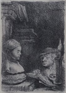 Rembrandt Etching, Man Drawing from a Cast, 1641