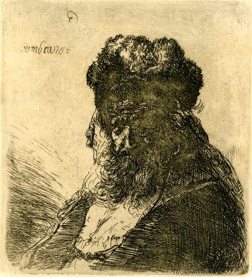 Rembrandt Etching, Old Bearded Man in a High Fur Cap, with Eyes Closed, c. 1635