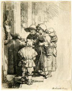 Rembrandt Etching, Beggars Receiving Alms at the Door of a House, 1648