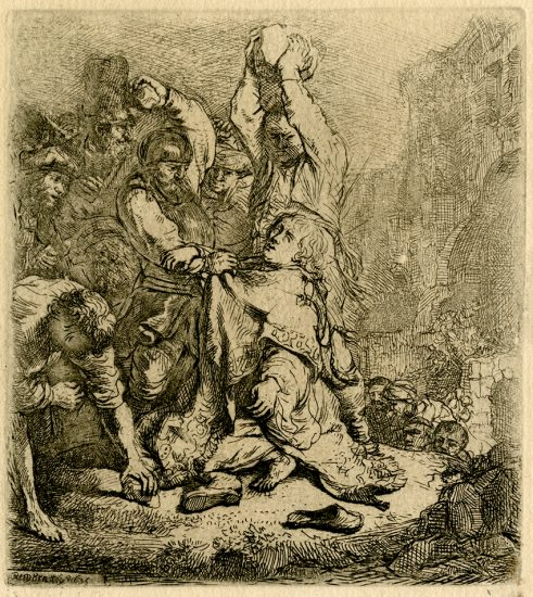 Rembrandt Etching, The Stoning of St. Stephen, 1635