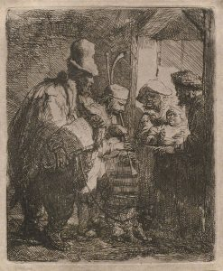 Rembrandt Etching, The Strolling Musicians, c. 1635