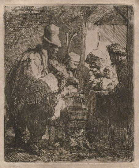 Rembrandt Lithograph, The Strolling Musicians, c. 1635