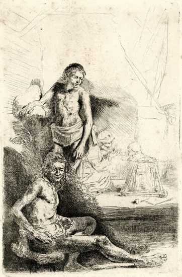 Rembrandt Etching, Nude Man Seated and Another Standing, with a Woman and Baby in the Background, c. 1646