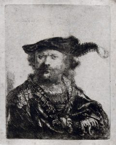 Rembrandt Etching, Rembrandt in Velvet Cap with Plume, 1638