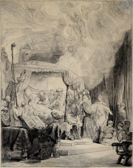Rembrandt Etching, The Death of the Virgin, 1639