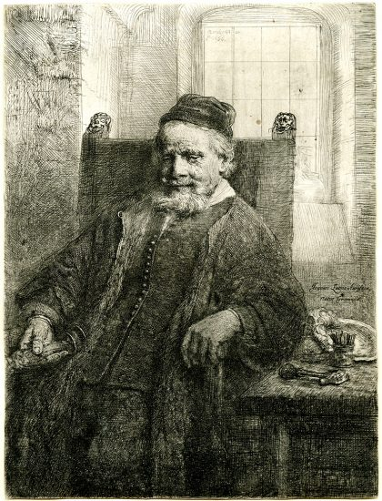 Rembrandt Drypoint, Jan Lutma, the Goldsmith, 1656