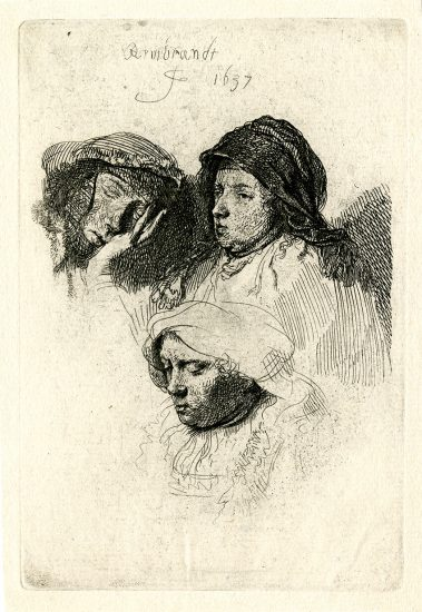 Rembrandt Engraving, Three Heads of Women, One Asleep, 1637