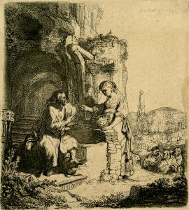 Rembrandt Etching, Christ and the Woman of Samaria, Among Ruins, 1634