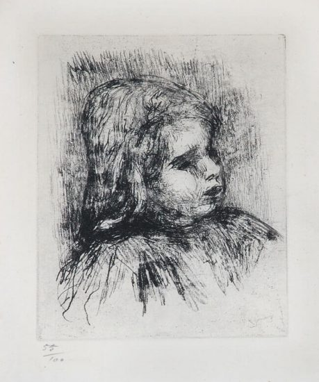 Pierre-Auguste Renoir Etching, Claude Renoir, de Trois-Quarts à Droite (Claude Renoir, Three-Quarters to the Right), 1908
