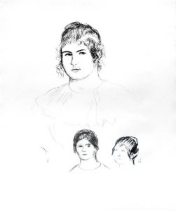 Renoir Lithograph, Jeune fille en buste et etudes de têtes (ou Gabrielle) [Three Sketches of Faces, Gabrielle]