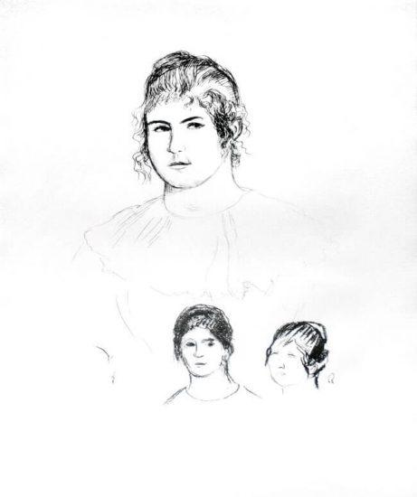 Pierre-Auguste Renoir Lithograph, Jeune fille en buste et etudes de têtes (ou Gabrielle) [Three Sketches of Faces, Gabrielle]