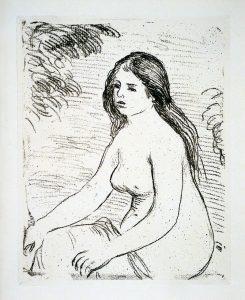 Renoir Lithograph, Femme Nue Assise, c. 1906
