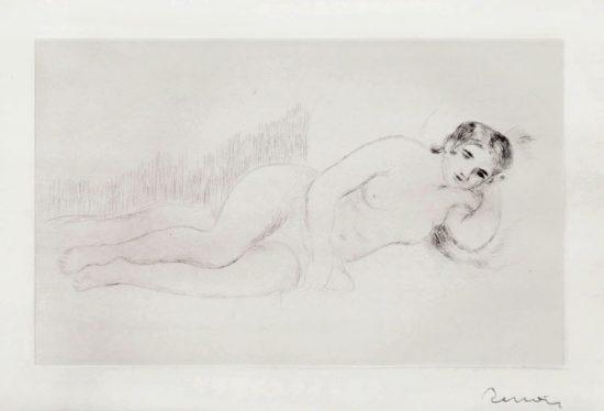 Pierre-Auguste Renoir Lithograph, Femme Nue Couchée (Tournée à Droite), 1st Plate, 1906