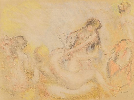 Pierre-Auguste Renoir Counterproof, Les Baigneuses au crabe, I (Bathers Playing with a Crab, I), c.1897-1900