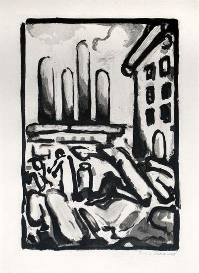 Georges Rouault Lithograph, Christ au Faubourg (Christ in Faubourg) from Passion, 1935